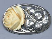 Adolf Meyer große 900 Silber Brosche Repousse-Handgetrieben Jugendstil /A128