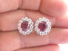 Platinum Gem Ruby & Diamond Huggie Earrings 5.80Ct 14.5mm