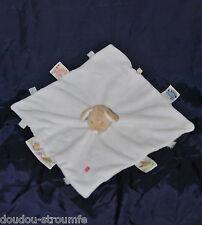 Doudou Souris Plat Fraise NOUKIES NOUKIE'S NOUKY Blanc Etiquettes Echarpe TTBE