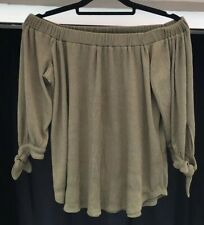 Ambercrombie And Fitch Bardot Top Size S Khaki Green Bow Tie Sleeve Woven Blouse