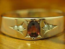 8kt 333 Rotgold Art-Deco Ring mit 0,40ct Granat & Saat-Perlen Besatz / RG 61,5