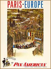 Paris Europe Pan American France Vintage French Travel Advertisement Poster