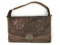 Tooled Leather Shoulder Bag Artsy Craft Floral Brown Mexican Purse Bag Vtg
