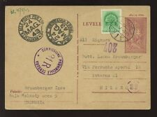 ITALY 1943 CENSORED HUNGARIAN STATIONERY..ITALY...3 CENSOR HANDSTAMPS