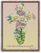 70x53 DAISY CROSS Floral Religious Tapestry Afghan Throw Blanket
