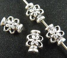 200pcs Tibetan Silver Flower's Tube Spacer Beads 8x6mm 287