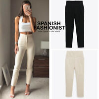 ZARA WOMAN NEW SS20 HIGH RISE TAPERED PANTS IN 2 COLORS ALL SIZES REF: 8119/253
