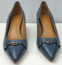 Coach Lauri Turnlock Kitten Heels Pumps Pointed Toe Blue Leather Size:8.5. NEW