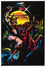Poster: Fantasy : Knight On Horse - Blacklight & Flocked - Free Ship #Rp60 A