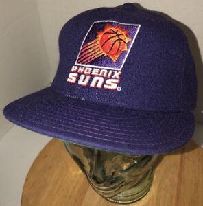 VTG PHOENIX SUNS 80S 90s USA 100% Wool New Era Hat Cap 7 1/4 USA 5950 NBA Pro