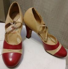 Genuine 1925 Spectator Pumps With Strap Beige And Red Leather By Petot Shoes