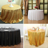 Round Sequin Glitter Tablecloth Sparkly Table Cloth Cover Wedding Party Banquet