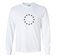 EU European Union Black Logo T-shirt FLAG 90s EURO White Long Sleeve Shirt