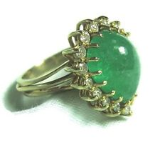 Test 14K Gold Ring w 4.5 ct Natural Emerald & .35 ct Diamonds 6.5 grams