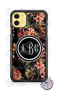 Flowery Floral Design Monogram Phone Case For iPhone Samsung Note 20 LG Google
