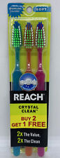 3 pack Reach Crystal Clean Sparkling Colors Toothbrushes ~ Soft
