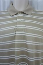 JA John Ashford Polo Shirt Sz M Delhi Khaki Striped Casual Mens Polo Shirt