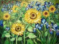 ZOPT55 wall ary 100% hand painted flower sunflower OIL PAINTING ON CANVAS
