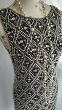 Vtg 1920,s style Downton Gatsby beaded harlequin flapper dress size 6
