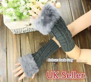Girls Ladies Faux Fur & Knitted Fingerless Gloves Mitten GLVS-L-02