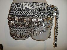 Belly Dancer Skirt Wrap Leopard Print Loud Silver Coins Beaded Dancing Halloween