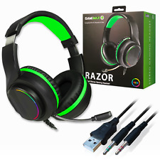 More details for gamemax rgb pc computer gaming headset & mic with 5.1 surround sound headphones