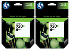 GENUINE HP 920XL Black Ink Cartridge 2 Pack for Officejet 6000 6500 7000 7500