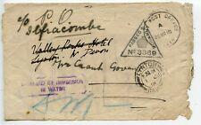 Salvaged mail 1918 OAS cover violet DAMAGED BY IMMERSION IN WATER to Lynton GB