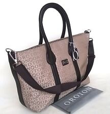 New Oroton Stencil Large Handbag Tote Shoulder Bag Leather Canvas Taupe RRP$495
