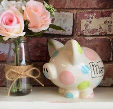 Personalised Ceramic Piggy Bank  Newborn Baby Birth Present Gift Boys Girls