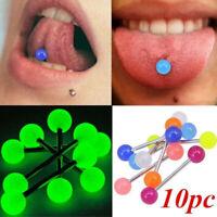10Pcs Glow In The Dark Tounge Rings Bars Luminous Barbell ody Piercing Jewelry