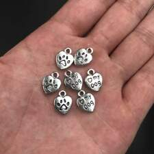 20X Tibetan Silver Love My Dog Paw Heart Charm Pendant 9*12mm Wholesale