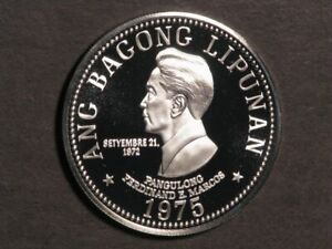 PHILIPPINES 1975 50 Piso Marcos Silver Choice Proof
