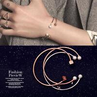 Lady's 18K White / Rose Gold Filled 6mm Pearl Love Charm Bangle Bracelet Gift