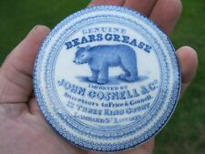 More details for rare blue print gosnell bears grease pot lid