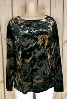 INVESTMENTS Womens Size Large Long Sleeve Shirt Abstract Velvety Texture Top