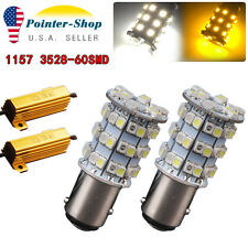 2x White/Amber Switchback 1157 7528 60-SMD LED Light Bulbs Turn Signal+Resistors