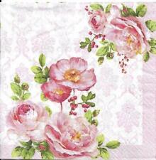 Lot de 4 Serviettes en papier Motif Floral Decoupage Collage Decopatch