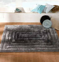 SOFT CHUNKY THICK SHAGGY PILE 3D VERGE RIDGE HAND CARVED BLACK SILVER GREY RUG