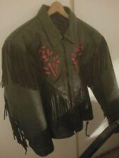 Ladies XL Fringe Leather Lined Motorcycle Jacket
