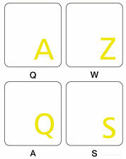 FRENCH AZERTY KEYBOARD STICKER TRANSPARENT  YELLOW  LETTERS