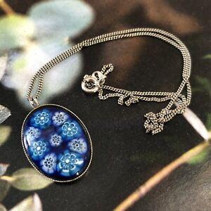 STSIL 925 Sterling Silver Millefiori Art Glass Blues Pendant 925 Chain Delicate
