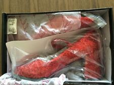 Dorothy Sparkle Sequin Ruby Red Shoes Size 8 Thick Heel