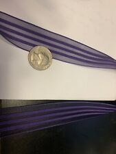 1 inch organza ribbon with satin stripes in deep purple