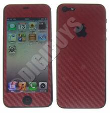 Carbon Fiber Vinyl Sticker Kit Cover Wrap for Apple iPhone 5 / 5S - Red