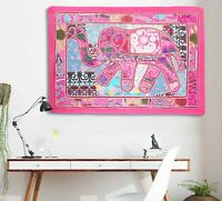 Indian Decorative Embroidered Tapestry Elephant Patchwork Wall Hanging 52 X 27""