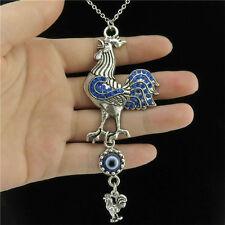 "18"" Silver Animal Blue Rhinestone Cock Dangle Acrylic Evil Eye Collar Necklace"