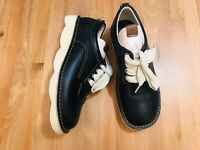 Coach Trooper lace up black ivory leather men's casual shoes G1744 NWOB size 10
