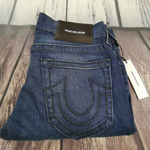 Men's True Religion Jeans 30 Waist 34 Leg Rocco Big T Relaxed Skinny Fit in Blue