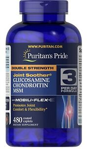 Puritans Pride Double Strength Glucosamine Chondroitin MSM Joint Soother 480Caps